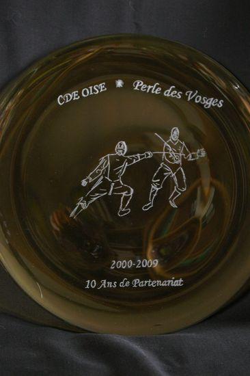 Trophée-Assiette gravée pour l'anniversaire du club sportif